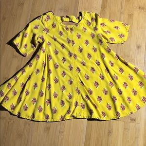 Old Navy floral swing dress mustard 2T